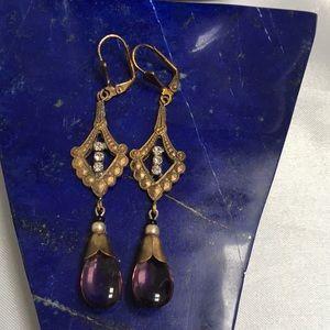 Czech Glass Earrings Amethyst Color Drops
